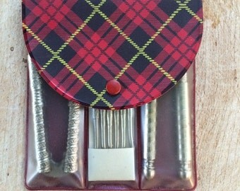 Holiday Giveaway Nutcracker Set In Red Plaid Case From Nu-Way Cleaners of Escanaba, Michigan