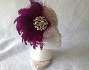 Purple Feather Fascinator, Purple Wedding Fascinator, Plum Feather Fascinator,  Plum Feather Headband, Bridesmaid Feather Hair Comb