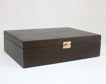 Dark Brown Wooden Gift Box / Keepsake Box / Jewelry Box / Storage Box / Plywood Box 11 x 7.67 x 2.95 inch