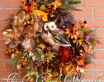 MADE TO ORDER Deluxe Fall Owl Wreath, Large Rustic Autumn Owl Wreath, Rust, Dark Brown, Gold, Autumn Floral, Fall floral swag Woodland
