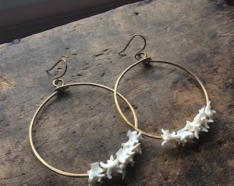 rattlesnake vertebrae hoops // made to order, vertebrae earrings, bone jewelry, macabre jewelry, brass hoops, statement earrings