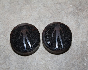 """Pair of Misprinted Brown Sono wood """"I love Zombies"""" Designed Plugs - SIZE 27.5mm  (50% off)"""