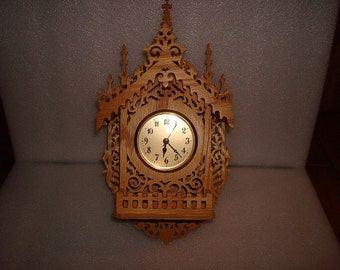 Genuine Wooden Fretwork Battery Operated House Clock / Wall Clock