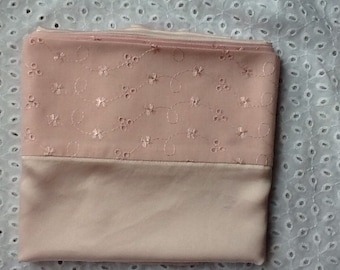 Pale pink pure silk pillowcase with cotton back and broderie anglaise trim (pair)