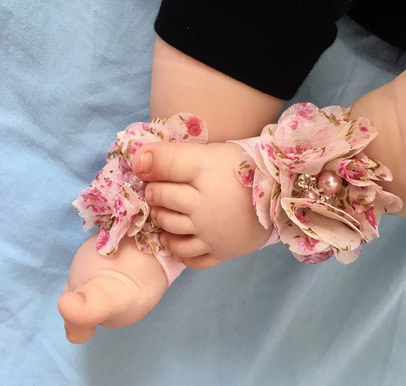 3-12m Baby Barefoot Sandals Shoes Baby Girl bare foot floral