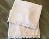 Crocheted Pillowcases Cotton / 2 Vintage Cream Cottage Chic Bedroom Decor Linens