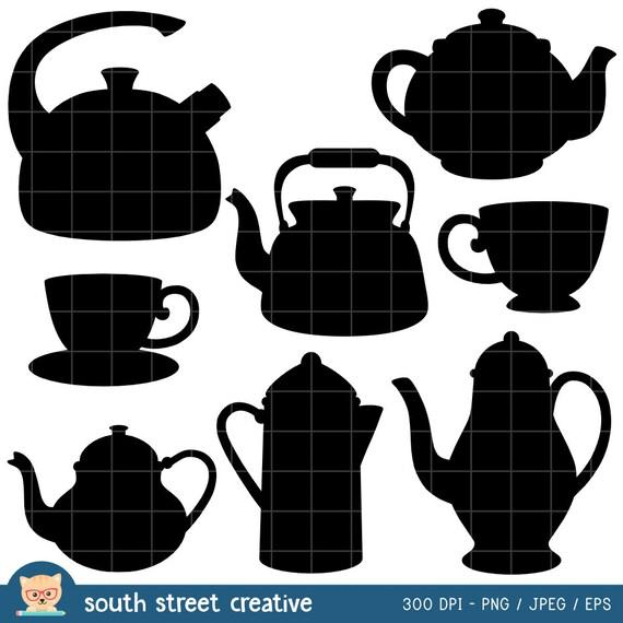 sale teapot teacup silhouette cute clipart by