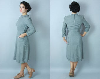 1940s Kitten Grey day dress | vintage 40s wool dress with asymmetrical pleating and pocket | small