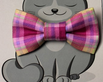 Easter Dog Bow Tie, Kitty Bowtie, Collar Accessory, Cat Costume, Pet Clothing, for Dog, Plaid, Spring, Pink, Yellow, Pastel, Purple