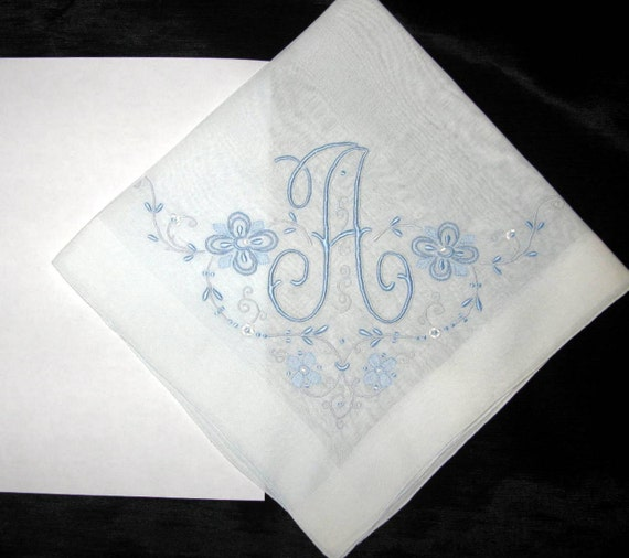 initial a handkerchief embroidered wedding by