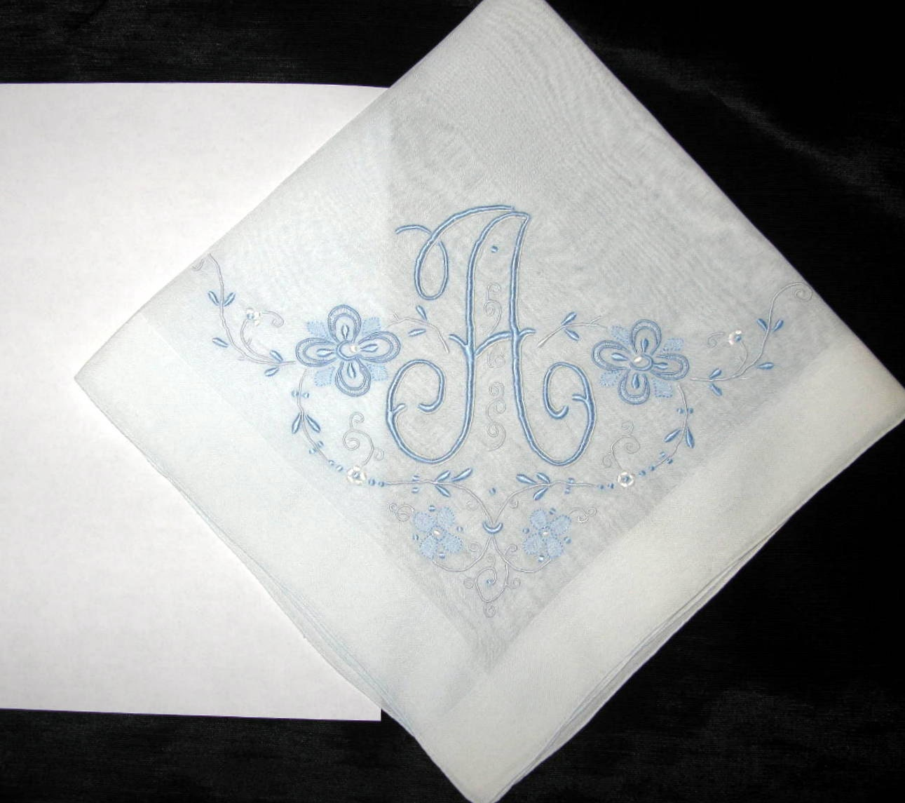 Initial A Handkerchief Embroidered Wedding By Greenleafvintage1