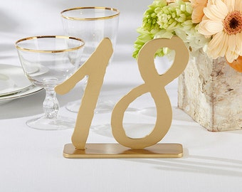 Wedding Table Number Gold Table Numbers Classic Gold Wood Table Number 1-18 Elegant Reusable Gold Wooden Standing Table Numbers