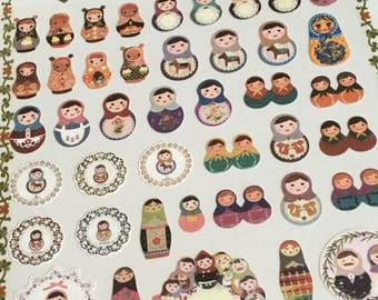 A Sheet of Paper Sticker- Matryoshka Dolls