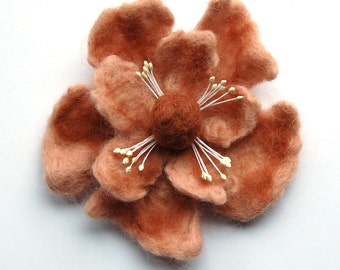 Felt flower brooch, wet felted wool flower pin, salmon and brown, flower felt pin, corsage, big flower brooch