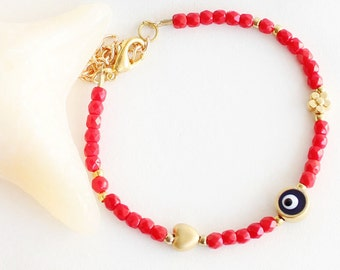 Blue evil eye bracelet, red crystal bracelet, czech crystals, gemstone bracelet, heart, flower, valentine gift, best friend birthday gift