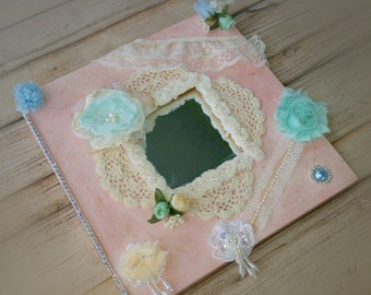 Wall Hanging Mirror - Shabby Chic - Pink and Mint