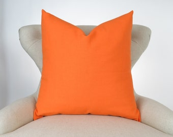 Throw Pillow Cover, Decorative Cushion, Euro Sham, Accent Pillow, Plain Pillow, Solid Color, -MANY SIZES- Mandarin Orange, Premier Prints