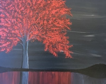 Abstract Art, Monochromatic, Tree, Landscape, Wall Art, Painting, Red acrylic monochrome tree landscape canvas painting