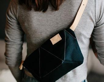 ANT BLUE hip bag / natural leather strap / cotton small bag / navy blue hip bag