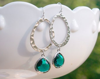 Emerald Green Earrings in Silver - Silver and Emerald Oval Earrings - May Birthstone, Emerald Wedding Bridesmaid Jewelry, Green