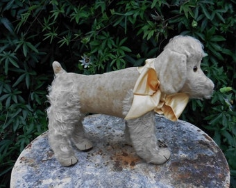 French Vintage,Vintage  Toy ,French Poodle,Toy  Dog 1940's, Straw Filled, Large Toy Dog ,Gorgeous French Poodle.