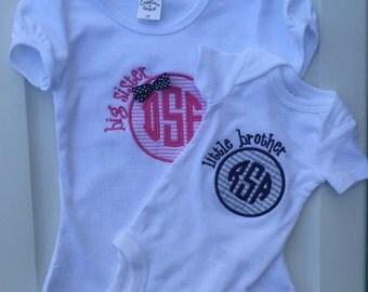 Two matching shirts- Big Sister Shirt, Little Brother,  Pregnancy New Baby shirt, Sibling matching t-shirts.