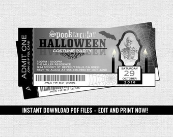 Halloween Costume Party Ticket Invitations Birthday or Holiday - (Instant Download) Editable and Printable PDF Files Spooky Haunted House