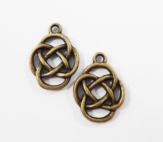 Bronze Chinese Knot Charms 17x12mm Antique Brass Chinese Knot Pendant, Knot Symbol Charms, Double Sided Metal Charms, Craft Supplies, 10pcs