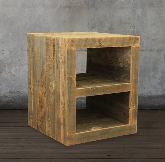 Reclaimed wood side table night stand