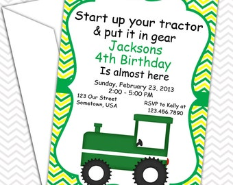 Tractor Green Invitations PRINTABLE - Birthday Party - Baby Shower