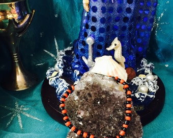 Elegua bracelet, red beaded bracelet, Santeria bracelet, red seed bracelet, Yoruba