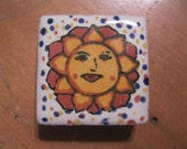"""Mexican Talavera Tile Sun Fridge Magnet 1.25"""" Square Glazed Red Clay Navy and Orange"""