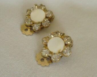 Vintage Tiny Rhinestone & Mother of Pearl Earrings