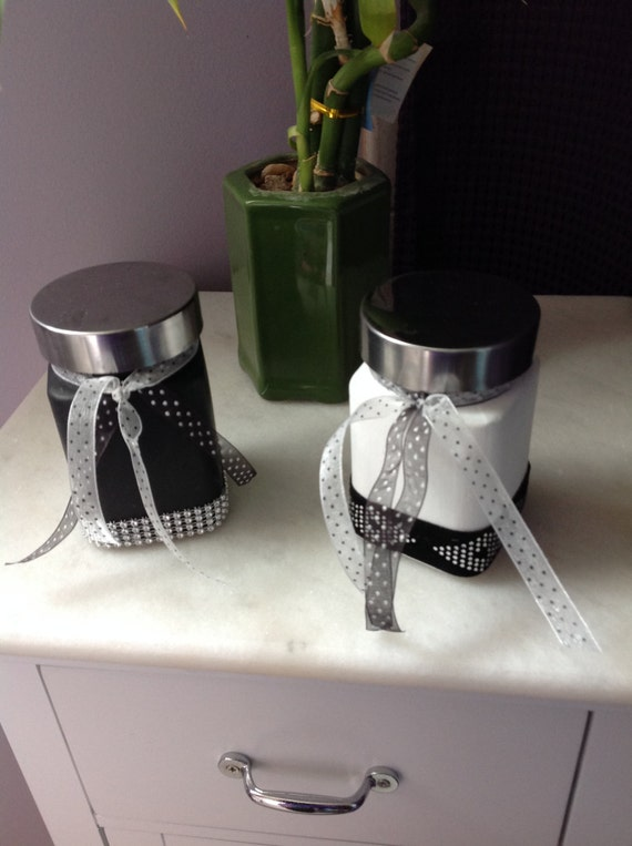 Jars, Black and White, Vases, Bath Decor, Makeup. Decor, Home Decor