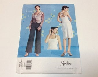 Vogue Montana Paris Original Pattern, Vogue 2558, Blouse Top Skirt and Pants Pattern, Uncut, Size 8 10 12