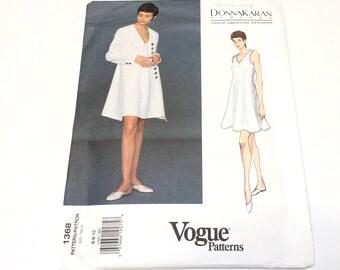 Vogue Donna Karan Pattern, Vogue 1368, American Designer Pattern, Coat and Dress Pattern, Uncut, Size 6 8 10
