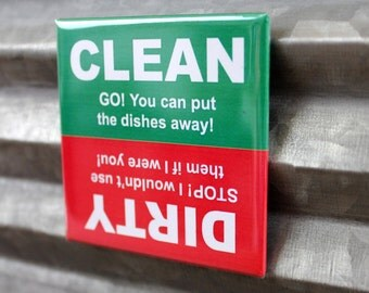 Clean Dirty Dishwasher Magnet Red Green, Magnetic Flip Sign Kitchen Home Fridge Strong Affordable Durable Unique Novelty Decor Gift Idea