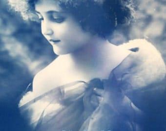 Vintage image altered art,Charming Girl,Blue,Image Instant Download.