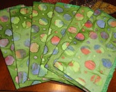 "Set of 6 napkins. Green, blue,pink,yellow  color. size 15""x 14,"". Dinner napkins. Pure cotton.Eco friendly.Great gift."