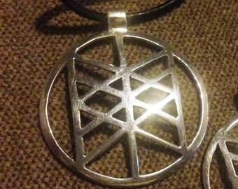 Rune pendant. Sterling silver  Elder Futhark  Wyrd round  pendant