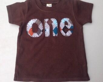Boy One Birthday Shirt First Birthday Baby's First One Shirt Boy Tee Shirt One Preppy Theme Birthday Shirt Argyle Fabric