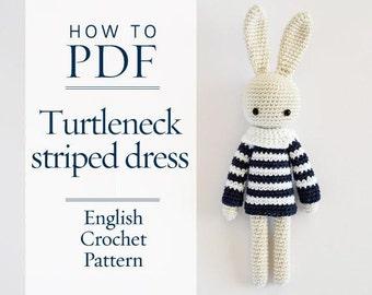 crochet pattern, Turtleneck Striped Dress for Angie Bunny, DIY pattern ready for immediate download by CrochetObjet