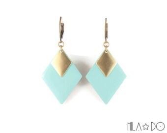 Tina Earrings in mint    Enamel and brass diamonds dangle earrings