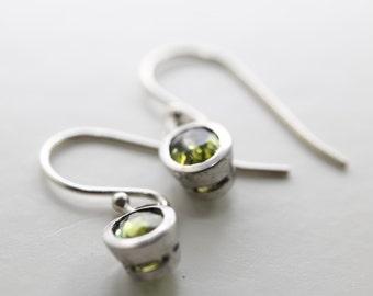 Green Peridot Dangles in Sterling Silver Bezel