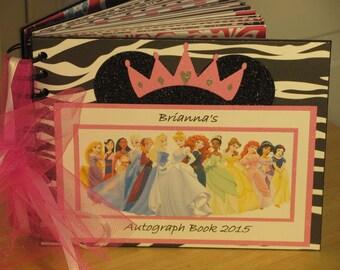 Disney Autograph Book with PRINCESSES Queen Elsa Princess Anna Rapunzel Belle Cindrella Jasmine  Scrapbook Hot Pink, Black Zebra Print White