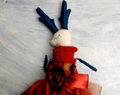 OOAK Doll with Horns / Cloth Doll with Horns / Fantasy Doll with Deer Horns Girl Doll/Handmade OOAK Doll/ Forest Doll/ Soft Doll