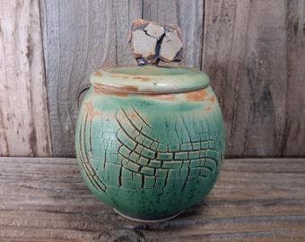 ChingWenArts Stoneware pottery Lidded Jar Signed, E015
