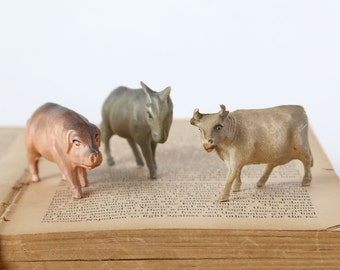 Vintage Mini Celluloid Animals, Vintage Plastic Animals, Set of 3 Celluoid Farm Animals, Small Antique Celluloid Pig, Cow, Donkey