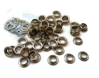50 Sets  / 10 mm ( Inner size ) silver tone eyelets grommet - EG03
