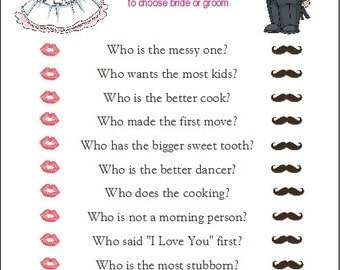24 Personalized GUESS WHO Bride or Groom Bridal Shower Game